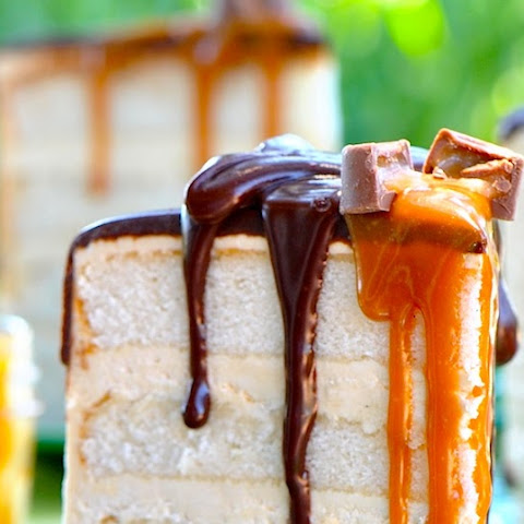 Salted Caramel Buttercream Frosting with Four Layer WHITE Cake