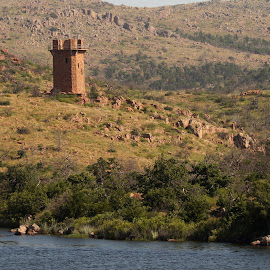 Tower in the Mountains by Taylor Mushinski - Buildings & Architecture Public & Historical ( mountains, tower, oklahoma, lake, landscape )