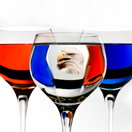 Red White and Blue by Bob Guanti - Artistic Objects Glass ( wine, reflection, eagle, red, blue, three, glass, white )