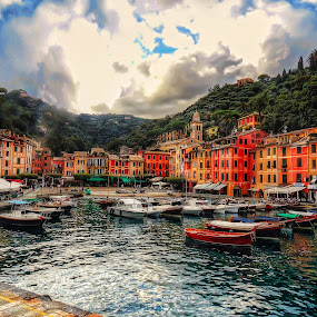 Portofino by Andrea Conti - City,  Street & Park  Historic Districts ( landmark, famous landmarks, harbor, bay, boats, cove, sea, genova, portofino, travel, homes, italy,  )