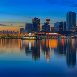 Vancouver Sunrise Triptych I by Briand Sanderson - City,  Street & Park  Skylines ( skyline, canada, sunrise, triptych, bc, vancouver, british columbia,  )