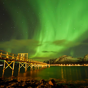 Aurora by Jens Andre Mehammer Birkeland - Landscapes Starscapes ( mountains, reflection, winter, snow, aurora borealis, sea,  )