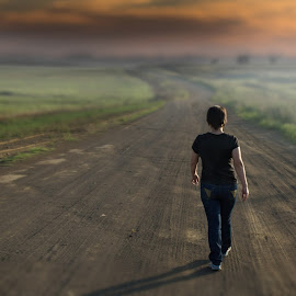 Where are you going by David Botha - Sports & Fitness Other Sports ( walking, sunset, dirt road, road, walk )