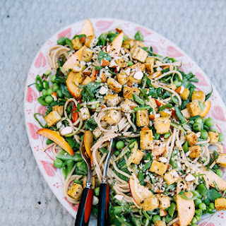 A Cool Vegan Noodle Salad With Seared Tofu + Zingy Almond Butter Sauce