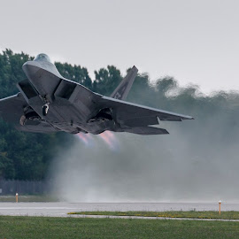 Afterburner Takeoff by Patrick Barron - Transportation Airplanes ( takeoff, afterburner, f-22, eaa, raptor, airventure )
