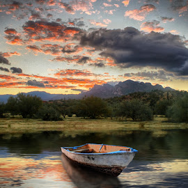After the flood by Charlie Alolkoy - Digital Art Places ( water, sky, mountain, sunset, lake, boat, reflect )