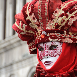 Red! by Bruno Brunetti - People Musicians & Entertainers ( red, color, carnival, venice, mask )