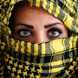 Dark eyes on yellow by Enrico Mosca - People Portraits of Women ( woman, scarf, dark, yellow, portrait, eyes,  )