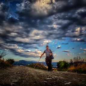 The Greek Shepherd   by Gregory Dallis - People Portraits of Men