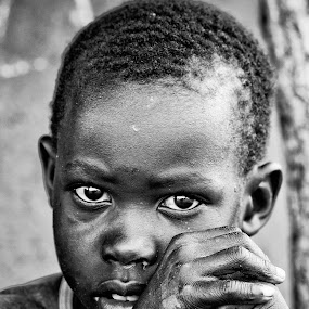 Child in Uganda by Teus Renes - Babies & Children Child Portraits ( child, uganda, black and white )