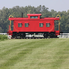 Caboose by Tammy Venable - Transportation Trains ( caboose, red, expired, obsolete, train, parked )