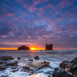 The Return by Manuel Oliveira - Landscapes Sunsets & Sunrises ( sunset, sea, ocean, portugal, landscape, rocks, azores )