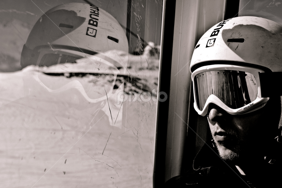 The Rider by Mirna Abaffy - Sports & Fitness Snow Sports ( winter, black and white, snow, people, snowboarding, portrait )