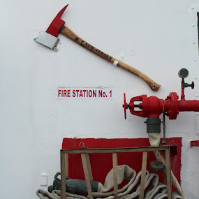 On Board Fire Station by Karina Zawilinski - Artistic Objects Industrial Objects ( red, nozzle, white, station, fire, hose, ship, handle, axe )