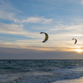 Double-Kite by Pere Olivares - Sports & Fitness Surfing ( sunset, kite, sports, sport, kitesurf, fun, beach, sun )