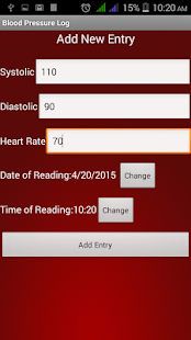 Blood Pressure Log Diary. - screenshot
