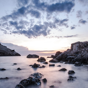 Long Sunset by Inma  Monte Picante - Landscapes Waterscapes ( ibiza, cala moli, sunset, long exposure, beach )