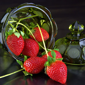 Candy Dish with Strawberries by Cal Brown - Artistic Objects Still Life ( dish, red, pressed glass, candy, green, food, still life, strawberries, glass, artistic objects,  )