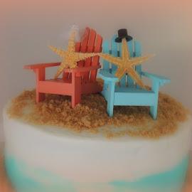 Beachy Wedding Cake by Becky Luschei - Wedding Other ( cake, atop, beachy, chairs, wedding, beach, bride, wedding cake, groom )