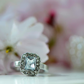 Ring and Cherry Blossom by Wendy Milne - Wedding Details ( pearl, ring, macro, diamond, cherry blossom )