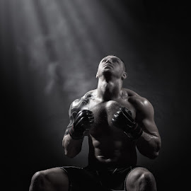 Boxer before the fight by Artem Furman - People Professional People ( boxer black and white man dark )