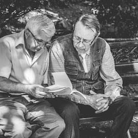 Reading has no age !  by Matei Iulian - City,  Street & Park  Street Scenes ( #reading #readers #oldmen #park #bucharest #ig_bucharest #ig_romania #enjoybucharest,  )