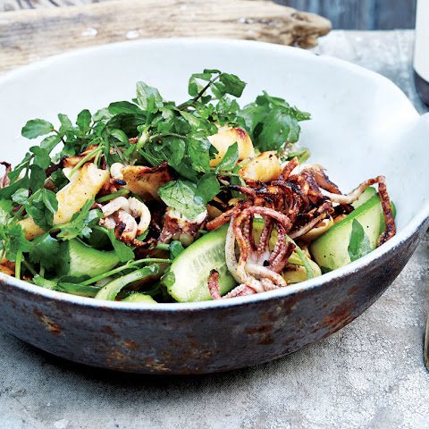 Squid Salad with Cucumber, Watercress, and Cilantro