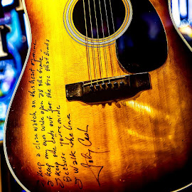 Words of Wisdom Left Behind by Jonny Cash by Kim Hadji - Artistic Objects Musical Instruments