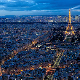 Eiffel Tower by Freddy Ng - City,  Street & Park  Vistas ( bluehour, eiffel tower, paris, france, cityscape, city at night, street at night, park at night, nightlife, night life, nighttime in the city )