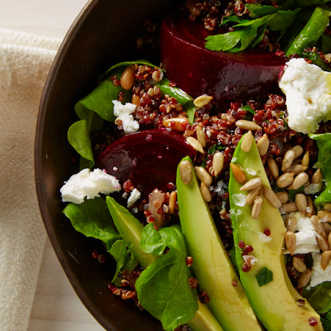 Beet and Arugula Salad with Quinoa, Avocado, and Sunflower Seeds