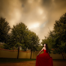 red dress by Adrian  Gabriel - Wedding Bride ( clouds, flash, red, girl, nature, dress, beauty, light )
