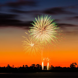 Sparks and Sunset by Madhujith Venkatakrishna - Abstract Fire & Fireworks