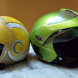 We are not talking to each other by Sandip Das - Novices Only Objects & Still Life ( necessary, color, helmet, wear, head protection, colorful )