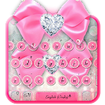 Pink Silver Luxury Bow Keyboard Icon