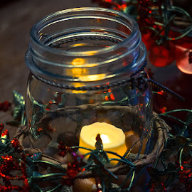Evening Candle by Debbie Jones - Novices Only Objects & Still Life ( centerpiece, candle, winter, christmas )