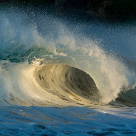 Glowing Wave by Warren Fintz - Landscapes Waterscapes ( #wave #beach #landscape #sunrise #hawaii #bigisland #photography )