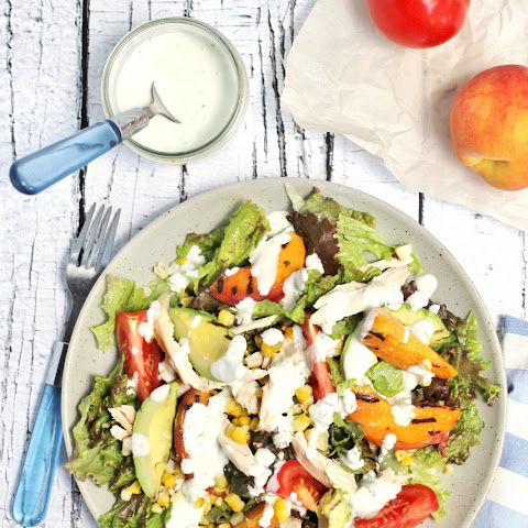 Grilled peach, corn and avocado chicken salad with Greek yogurt lime dressing