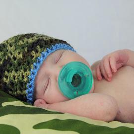 Daddy's Future Hunting Buddy by Sharon Abbott - Babies & Children Babies ( camo, new born, sleeping, baby, hunting buddy )