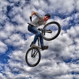 The Sky, My Playground ! by Marco Bertamé - Sports & Fitness Other Sports ( clouds, wheel, white, round, dow, circle, sky, bycicle, blue, air, stung, grey, high,  )