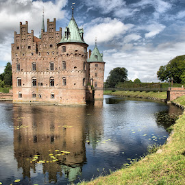 Egeskov Castle  (Denmark) by Gianluca Presto - Buildings & Architecture Homes ( home, nobody, old, reflection, water reflection, europe, reflections, travel, house, historic, sky, ancient, towers, cloudy, homes, travel locations, water, clouds, houses, hdr, egeskov, lake, old building, old castle, tower, castle, denmark, bridge, historical, medieval, travel photography )