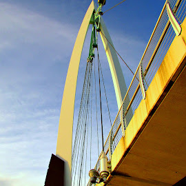 Support by Vince Scaglione - Buildings & Architecture Bridges & Suspended Structures ( water, over, sky, support, bridge, kansas, wichita, arkansas, river )