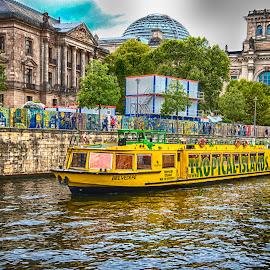 Cruise boat in Berlin by Pravine Chester - City,  Street & Park  Neighborhoods ( cruise boat, waterways, germany, berlin, transportation, boat, canal )
