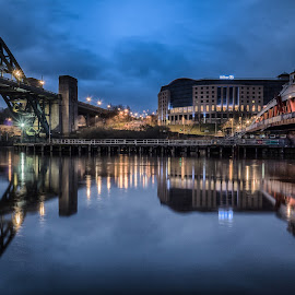 Still Morning On The Tyne by Adam Lang - Buildings & Architecture Bridges & Suspended Structures ( hilton, river tyne, reflections, gateshead, tyne bridge, newcastle, swing bridge )