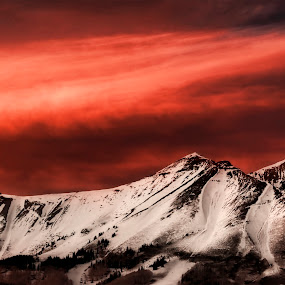 Fiery Sunset Over San Juan Mountains by Melanie Metz - Landscapes Mountains & Hills ( mountain, nature, sunset, snow, colorado, beauty, telluride )