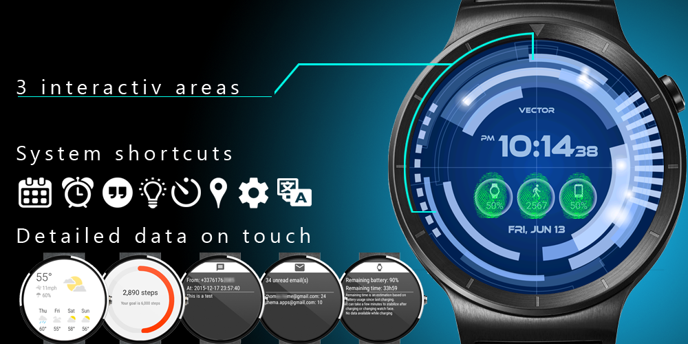 Vector GUI Watch Face Screenshot 2
