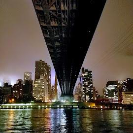 NYC under the Bridge by Chris Gray - Buildings & Architecture Bridges & Suspended Structures ( water, manhattan skyline, queensboro, night, bridge )