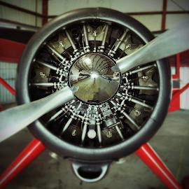 Big Red by Elliott Redeker - Transportation Airplanes ( 1944, engine, airplane, close up, stinson )