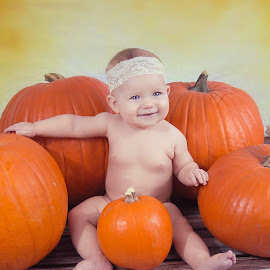 Pumpkins by Jenny Hammer - Babies & Children Babies ( girl, pumpkins, baby, smile, cute, halloween )