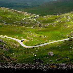 Curvy by Seamus Crowley - Landscapes Travel ( hills, ireland, grass, green, road, rocks, light, curves )