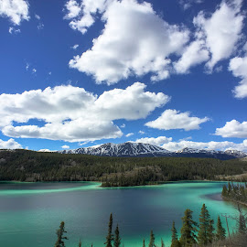Alaska Morrine Lake by Jim Downey - Instagram & Mobile iPhone ( clouds, water, altitude, green, glacier sand )